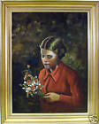 MARVELLOUS OIL. YOUNG GIRL WITH FLOWERS BY DANSTRUP.N/R