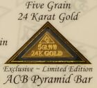 Pyramid 24ct Pure 9999 Au Gold Bullion 5 Grain Bar in Certificate Authenticity