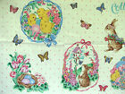 RARE Fabric Traditions COTTONTAILS panel Easter appliques bunny chick eggs tulip