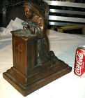 ANTIQUE ARMOR BRONZE CLAD SAINT RITA CROSS SHELTER STATUE BOOKEND ART SCULPTURE