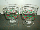 2 Holiday sherbet glasses, Holly and Berries, vintage