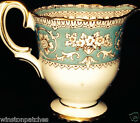 CROWN STAFFORDSHIRE ELLESMERE CREAMER 6 OZ BROWN SCROLLS & GRIFFINS ON TURQUOISE