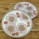 Denby Gypsy Stoneware Lavender Purple Pink Stylized Flowers 2 Dinner Plates