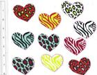 Fabric iron-on appliques: 10 large funky hearts, animal prints , 2 inches