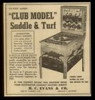 1954 Evans Club Model Saddle & Turf coin-op arcade game machine photo trade ad