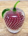 Red Apple Strawberry Glass Paperweight Paper Weight Controlled Bubbles Nice