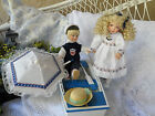 SALE -Sailor Dolls Set Boy and Girl With Musical Boat Plays
