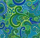 Fabric #2393, Large Print of Green & Blue Swirls & Dots, Blank, Sold by 1/2 Yard