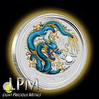 2012 1oz Silver Perth Mint Australian BLUE/yellow Lunar Dragon Coin Color RARE