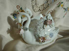 Vintage Double Swan Bone China Trinket Box with Flowers~Gift~Trinkets~Beautiful!