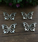 Wholesale 10pcs Tibet silver Butterfly Charm Pendant beaded Jewelry Findings
