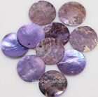 50pcs Mussel Shell Flat Round Coin Charm Beads Purple Color,18mm