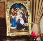 Wood Gold Nativity Of Christ Jesus Icon QUEEN OF ANGELS Nativity Scene 8 WOW