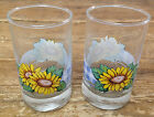 2 Drinking Glasses Juice Tumblers Corelle Sunsations Gingham Blue Sunflower 6 oz