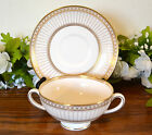 Wedgwood Colonnade Gold Cream Soup Bowl & Saucer (s)