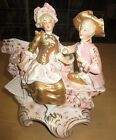ANTIQUE Victorian Couple Sitting Procelain Figurine Planter w/Wob