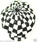 Sequin Newsboy Brando Cabbie Cap Black White CHECKERED Nascar