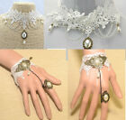Hollow Out White Lace Flower Choker Big Faux Pearl Drop Necklace Bracelet Ring
