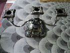 ANTIQUE POOLE SILVER CO. SILVER PLATED 3 ARM CANDLE HOLDER *OLD ENGLISH PATTERN