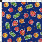 Asian Chinese Japanese Festival Paper Lanterns Navy Blue Cotton Quilting Fabric
