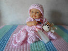 Berenguer Baby Doll With Pink Beach DaysCrochet Dress Hat Booties And Mitts