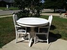 Vintage Shabby Cottage Chic Dining Table & 2 Cane Back Chairs