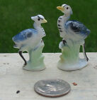 Vtg Miniature Tiny Bone China Blue Heron Figure Figurine Set 2 Tiny Water Birds
