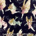 Hoffman Fabric Fairy Briar Fairies Night Sky Star Navy Gold Metallic Quilting