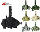 Tactical Military Hunting Molle Pistol Gun Drop Leg Thigh Holster w Radio Pouch