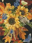 Large Sunflower Bouquet with Butterflies on black gold trim Quilt Fabric Kanvas