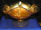 Marigold Carnival Glass Question Mark 2 handled compote Footed Bonbon
