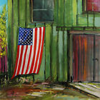 American FLAG Barn Farm LANDSCAPE Original Watercolor JMW art John Williams