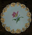 Antique Porcelain Meissen Cabinet Plate Hand Painted Flower Tulip Rare China OLD
