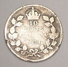 1934 Canada Canadian 10 Cents King George V Silver Coin Rim Dmgd