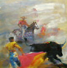 Large Oil Painting of Mexican Bullfighter in Traditional Costume Portrait 30x30