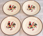 Vtg Metlox Poppytrail RED ROOSTER DINNER PLATES w BROWN RIMS Lot/4 Kitchen Decor