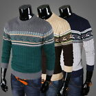Mens Cable Knit Crew Neck Animal Knitwear Ribbed Casual Jumper Sweater Pullover