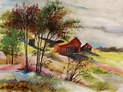 BARNS landscape Original WATERCOLOR Painting JMW art John Williams Impressionism