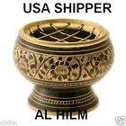 Solid Engraved Brass Charcoal BURNER Holder Cone Resin Incense 2.5