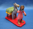 Very Rare! vintage COLORFUL Hand Painted Clay MAN & LLAMA Manuel EUDOCIO Brazil