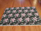 VINTAGE DAISY KINGDOM BLACK WITH PINK ROSES FABRIC COTTON 3 YARDS +12
