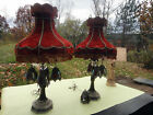 2 LAMP red velvet shade mid century HUGE antique vintage retro stained glass