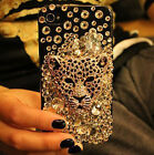 3D Handmade Bling Crystal Leopard head For Phone iPhone 4 4s Case Cover NEW  /C2
