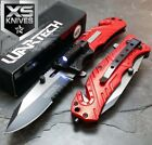 Wartech RED Spring Assisted LED Light Glass Breaker Folding Pocket Knife JT188