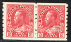 Canada 2c KGV Admiral Coil Pair, Scott 127, VF MHR, catalogue - $120 NICE