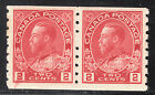 Canada 2c KGV Admiral Coil Pair, Scott 127, VF MNH/MH, catalogue - $210