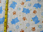 Blue Teddy Bears Paw Prints Skeleton Animals Flannel Cotton Fabric BTY CUTE!