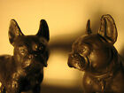 ANTIQUE  PAIR BRONZE FRENCH BULLDOG ART STATUE SCULPTURE BOOKENDS 2