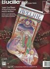 Stained Glass Nativity Stocking Counted Cross Stitch Kit Holidays Christmas RARE