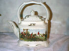 VINTAGE PORCELAIN DORCET STAFFORDSHIRE ENGLAND TEA POT WITH HUNT SCENE  MINT